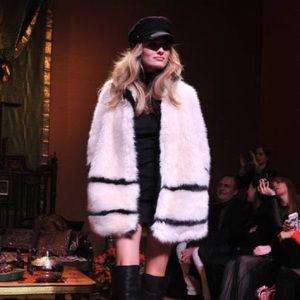 H&M White and Black Faux Fur Jacket
